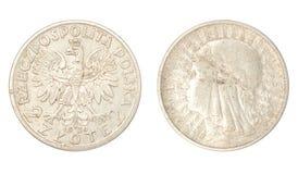 古老硬币波兰银 库存图片