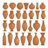 古老碗装饰黏土 导航在白色隔绝的陶瓷土气花瓶,陶器装饰制造的罐,老 皇族释放例证