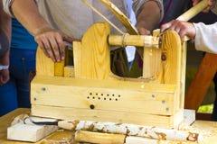 古老碾碎机制木头 免版税库存照片