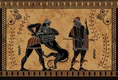 古老神话sceen,赫拉克勒斯英雄事迹、古老战士和妖怪, 皇族释放例证