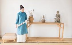 古老禅宗茶的纸卷这艺术性的构想 图库摄影