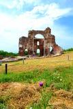 古老红色教会废墟 库存图片
