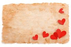 古老纸和心脏 免版税库存照片