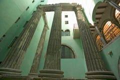 古老罗马专栏在西班牙语人聚居的区域Gotic,巴塞罗那,西班牙 免版税图库摄影