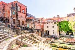 古老罗马剧院在卡塔尼亚 免版税库存照片