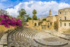 古老罗马剧院在莱切,普利亚地区,南意大利 免版税库存图片