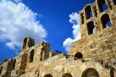 古老罗马剧院在雅典希腊 库存照片