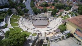 古老罗马剧院的鸟瞰图,普罗夫迪夫,保加利亚 库存照片