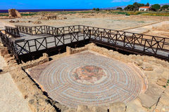 古老罗马和古老马赛克在帕福斯,塞浦路斯 免版税库存照片