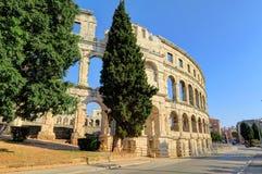 古老罗马圆形剧场外部普拉的, Istria,克罗地亚, 库存图片