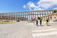 古老罗马塞哥维亚输水道看法  免版税库存照片