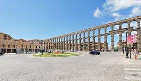 古老罗马塞哥维亚输水道,西班牙 免版税图库摄影
