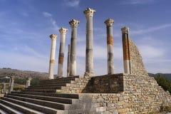 古老罗马市的废墟Volubilis,摩洛哥 免版税库存照片