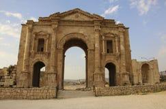 古老罗马市的Hadrian曲拱Gerasa,现代Jera 库存照片