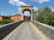 古老罗马桥梁在布雷西亚国家叫Pontenove 库存照片