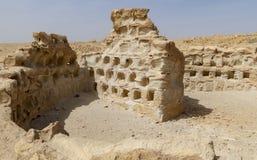 古老罗马鸽房和警卫塔在马萨达在以色列 库存照片