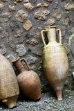 古老罗马amphorae在庞贝城 免版税库存图片