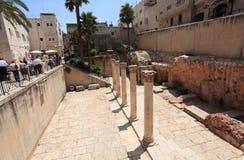 古老罗马Cardo在耶路撒冷耶路撒冷旧城 免版税库存照片