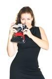 古老美丽的照相机妇女 免版税图库摄影