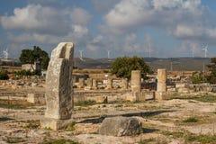 古老美之女神圣所的废墟在Kouklia 图库摄影