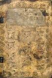 古老背景书脏的中世纪文本 免版税库存照片