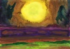 古老背景黑暗的纸水彩黄色 在海上的幻想日落 免版税库存照片