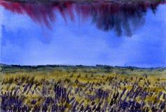 古老背景黑暗的纸水彩黄色 在花田的高多云天空 图库摄影