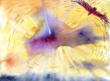 古老背景黑暗的纸水彩黄色 腾飞高在天空的老鹰 图库摄影