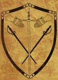 古老胳膊褐色有裂痕的盾表面 免版税库存照片