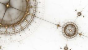 古老船舶仪器,指南针,生气蓬勃的ge 库存例证