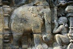 古老艺术borobudur大象寺庙墙壁 免版税库存照片
