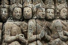 古老艺术borobudur寺庙墙壁 免版税库存照片