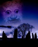 古老英国数字式遗产图象启发了小岛&# 免版税库存照片
