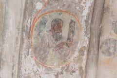 古老英王乔治一世至三世时期壁画在库塔伊西,从寺庙的修道院的细节 免版税库存照片