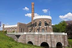 古老荷兰泵站Cruquius,海姆斯泰德 库存图片