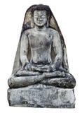 古老菩萨凝思雕象墙壁 免版税库存照片