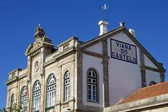 古老葡萄牙火车站在维亚纳堡 免版税库存图片