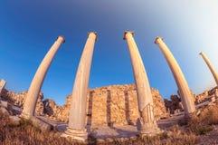 古老蒜味咸腊肠废墟的柱廊,塞浦路斯 免版税库存图片