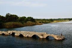 古老被毁坏的桥梁在Fertilia 图库摄影