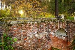 古老被瓦解的红砖桥梁在森林里老在晚上, Mtsyri, Serednikiovo,莫斯科地区,俄罗斯 免版税图库摄影