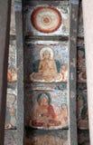 古老被绘的壁画在Ajanta陷下,印度 免版税库存照片