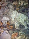 古老被绘的壁画在Ajanta陷下,印度 免版税库存图片