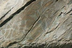 古老被雕刻的图画岩石 免版税库存照片
