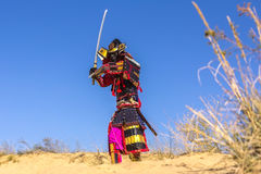 古老装甲的武士,有剑的 战士 免版税图库摄影
