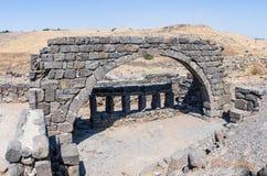 古老西伯来城市Korazim Horazin, Khirbet Karazeh的废墟,毁坏被在4世纪广告的一次地震,在 免版税库存图片