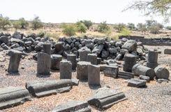 古老西伯来城市Korazim Horazin, Khirbet Karazeh的废墟,毁坏被在4世纪广告的一次地震,立即使用 库存照片