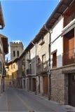 古老西班牙镇Zangoza在Navarra 库存图片