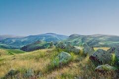 古老观测所Karahunj在亚美尼亚 `亚美尼亚人巨石阵` 免版税库存照片