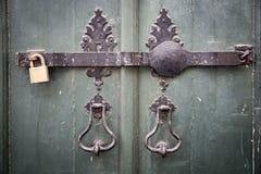 古老通道门环、一个金属酒吧和挂锁在一个古老绿色木门 库存照片