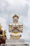 古老邪魔雕象在清迈,泰国。 库存图片